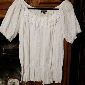 Cute White Dressy Peasant Blouse